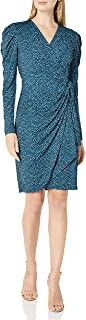Lark & Ro Amazon Brand Women's Long Balloon Sleeve Wrap Dress