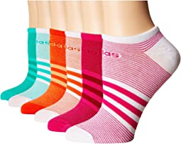 adidas - Superlite Mini Stripe 6-Pack No Show Socks