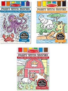 Melissa & Doug Paint with Water Activity Books Set 3-Pack; Arts & Crafts; Easy to Use; Farm, Ocean, Safari (20 Pages in Each, Great Gift for Girls and Boys - Best for 3, 4, 5, and 6 Year Olds)