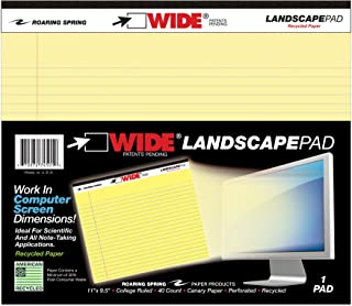 Roaring Spring Paper Products Wide Landscape Pads, 40 Sheets, 11 x 9-1/2 Inches, Canary (ROA74501)