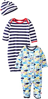 b11bfde40 Zutano Unisex-Baby Newborn Sunfish Footie with Gown and Hat Set, Multi