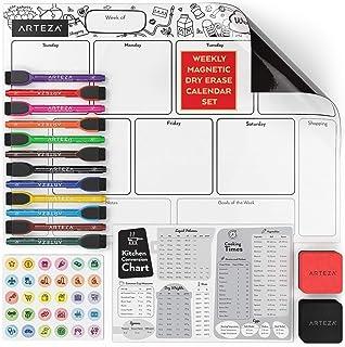 Arteza Pizarra magnética para nevera con calendario semanal | 43,18x30,48 cm | Incluye 12 rotuladores de pizarra blanca + 30 imanes + 2 borradores | Ideal como calendario magnético para el frigo