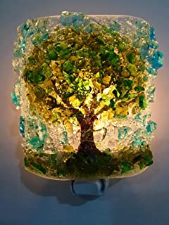 Oak Tree Handcrafted Fused Recycled Bottle Glass Art Night Light Nightlight Nitelite Unique Eco Gift