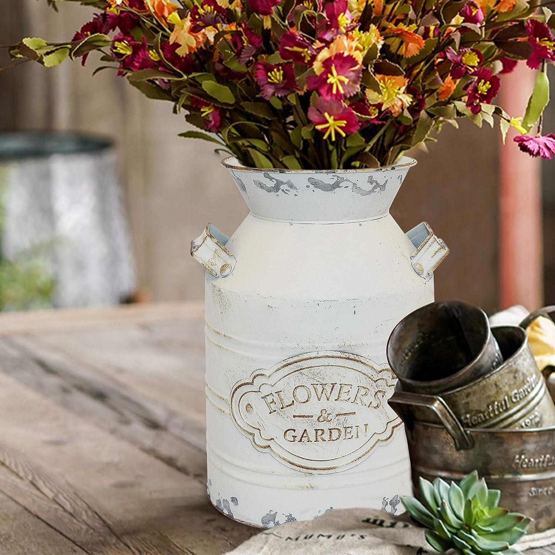 Bedroom Kitchen 9.4 Fovasen Rustic Galvanized Milk Can Jug Vase,Metal Shabby Chic Vase Primitive French Country Style Farmhouse Vase Decorative Flower Holder for Living Room