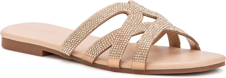 Olivia Miller Women's Shoes, Falerna Sparkle Intricate Strap Slide Flat Sandals