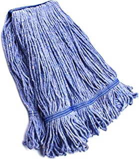 String Mop Heads Replacement Heavy Duty Commercial Grade Blue Cotton Looped End Wet Industrial Cleaning Mop Head Refills (...