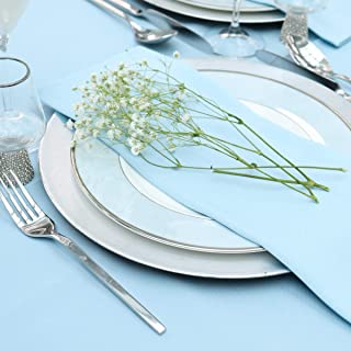 Kadut Cloth Napkins - 17 x 17 Inch Baby Blue Solid Washable Polyester Dinner Napkins - Set of 12 Napkins with Hemmed Edges...