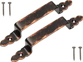 KOTARBAU® Set van 2 gesmede deurgreep 200 mm kleur antiek stalen deurgreep voor deuren poorten (antiek zwart + oud koper)