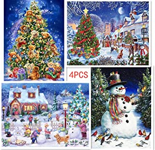 Aimilaly 4Packs Diamond Painting Set Full Dril, Christmas Series 5D Diamond Painting Kits for Adults, Rhinestone Embroidery Cross Stitch (11.81x15.75 inch/Per Painting)