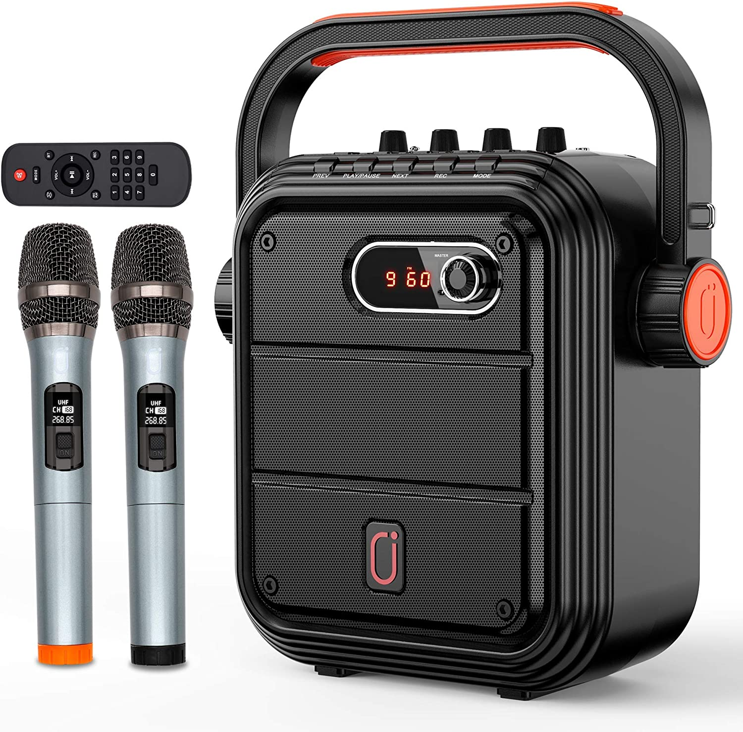 JYX High quality new Karaoke Machine with Max 65% OFF Two Microphones Wireless Blue Portable