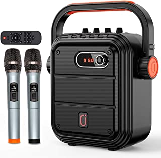 JYX Karaoke Machine with Two Wireless Microphones, Portable Bluetooth Speaker with Shoulder Strap, HD Sound PA System Supp...