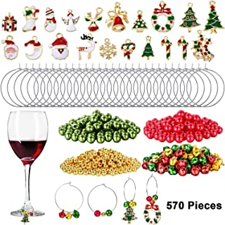 670 Pieces Christmas Wine Glass Charms Assorted Enamel Charm Pendant Wine Glass Charm Rings Christmas Bells Gold Beads Red Green Beads for Xmas Wine Glass Markers DIY Making Jewelry