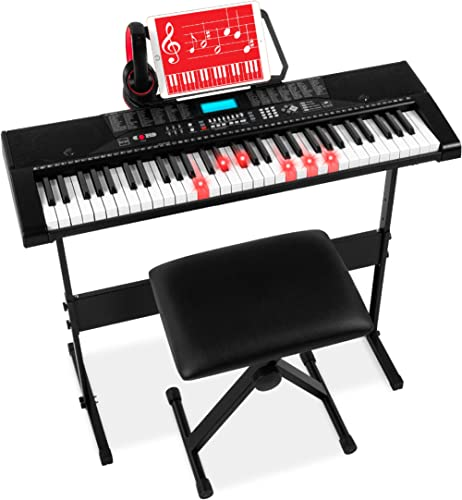 Best Choice Products 61-Key Beginners Complete Electronic Keyboard Piano Set w/Lighted Keys, LCD Screen, Headphones, ...