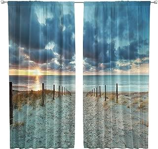Riyidecor Ocean Beach Scenic Curtains Scenery Landscape Rod Pocket Art Blue Sky North Brown Sundown Seaside Sand Printed Living Room Bedroom Window Drapes Treatment Fabric (2 Panels 42 x 63 Inch)