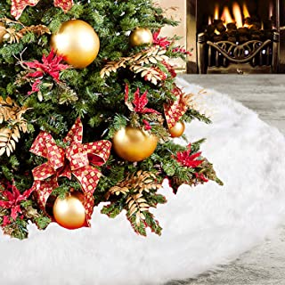 DOYOLLA Christmas Tree Skirt 48 inches Snowy White Faux Fur Tree Skirt for Xmas Holiday Decorations