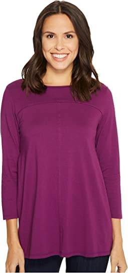 Deluxe Jersey Side Pleated Boat Neck 3/4 Sleeve Tee