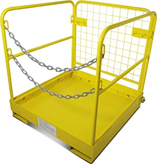 Titan Attachments Forklift Safety Cage Work Platform Collapsible Lift Basket Aerial Rails 36