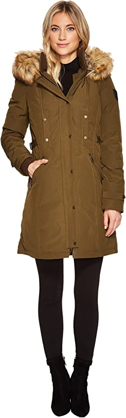 Vince Camuto - Faux Fur Hooded Down with Cinch Waist N1721
