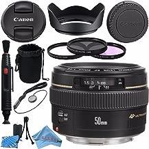 Canon EF 50mm f/1.4 USM Lens 2515A003 + 58mm 3pc Filter Kit + Lens Cleaning Kit + Lens Pouch + Lens Pen Cleaner + 58mm Tulip Lens Hood + Fibercloth Bundle