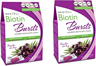 2 Packs of Neocell Laboratories Biotin Bursts - Chewable - Acai Berry - 30 Count