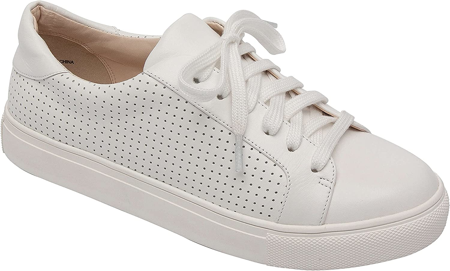 Pic & Pay OLLYN   Women's Lace-Up Perforated Leather or Suede Comfortable Fashion Sneaker White Leather 5.5M