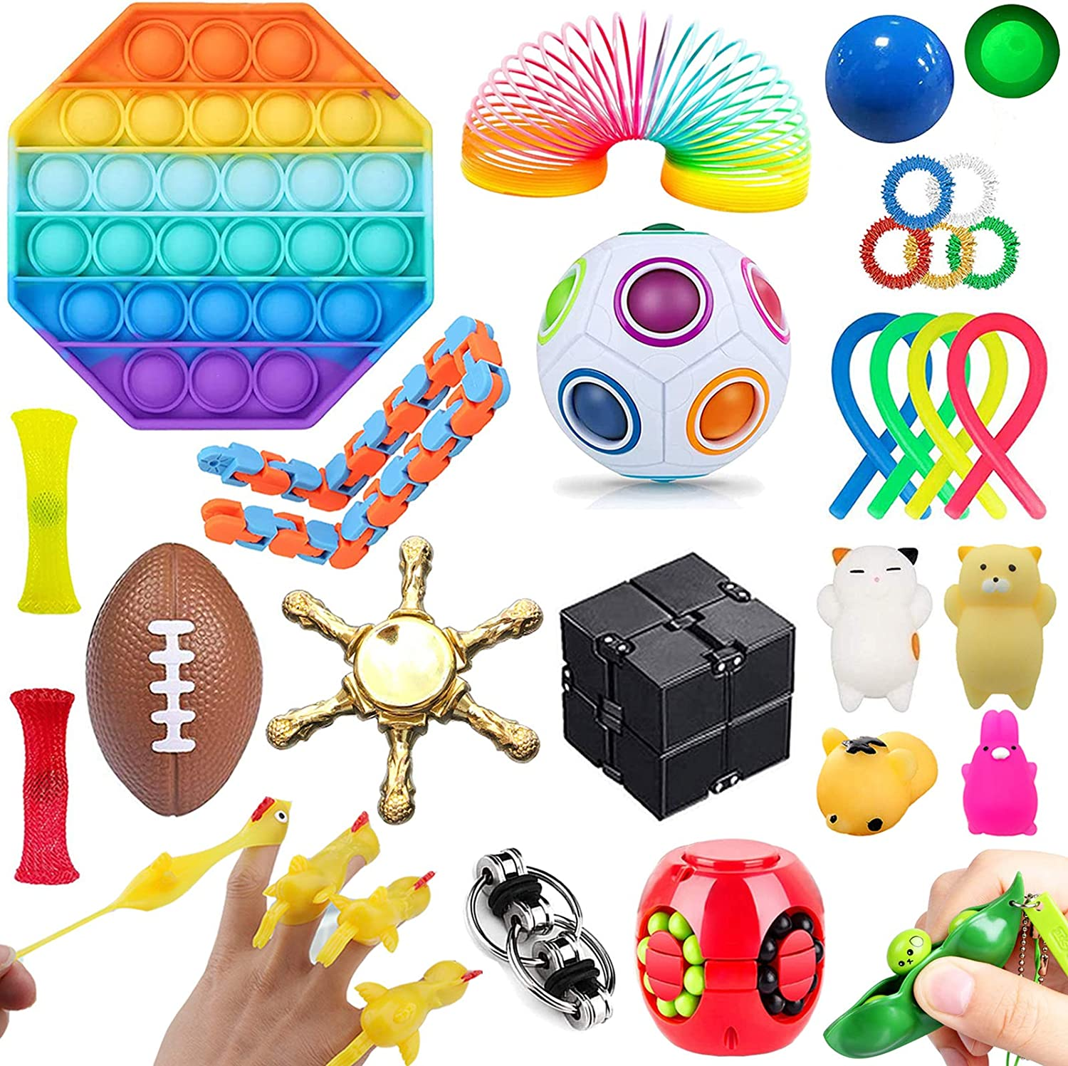 Stress Relief and Anti-Anxiety Tools Bundle for Kids and Adults Luxury 30 Pcs 30 Pcs Pack of Squeeze Balls Soybean Squeeze Fidget Toys Set Marble and Mesh Push pop Bubble Fidget Toy