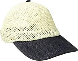 Straw Cap w/ Chambray Brim