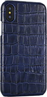 iPhone X/XS Genuine Leather (Crocodile Texture) Case Cover Real Leather Alligator Skin Texture[Ultra Slim Handmade] Back Cover for iPhone X/XS 5.8inch (Blue, XS/X)