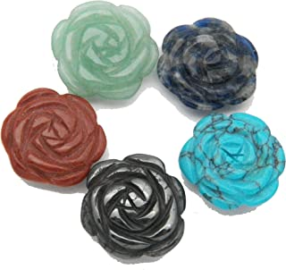 Fundamental Rockhound Products: 5 (Five) Hand Carved Flower Blossom Rose Beads Mixed Stones Gemstone Crystal