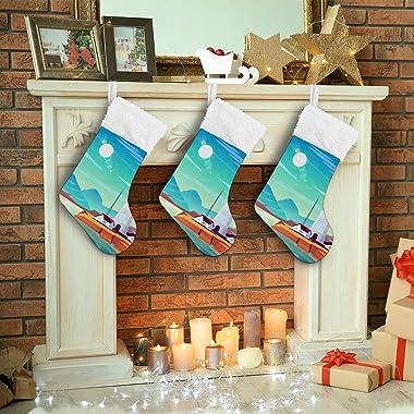 Christmas Stockings Holders,Large Xmas Fireplace Hanging Stockings Holiday Party Home Decoration Gift Lighthouse Blue