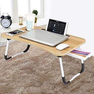 CHARMDI Lap Bureau portable pour ordinateur portable, table basse, table de petit déjeuner avec pieds pliables et tiroir d...