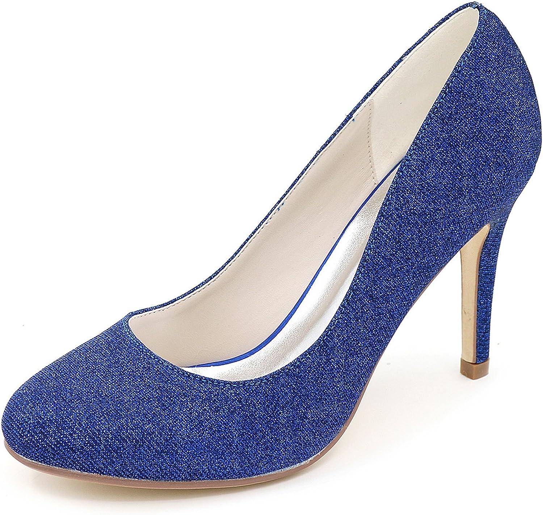 Elobaby Frauen Hochzeitsschuhe Wiesen Satin Chunky Fashion Platform geschlossene geschlossene Zehe Moderne High Heels (9 cm Absatz)  Modegeschäft zu verkaufen