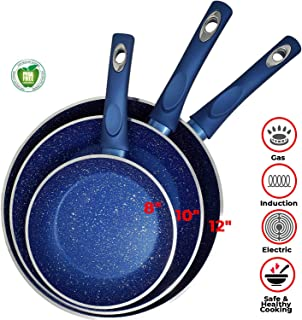 Non Stick Blue Marble Stone Forged Aluminium Pan Set Granite 4.5mm 6 Layers Non Stick Thickness Induction Bottom & Cool Touch Handle Dishwasher Safe PFOA,PTFE (3pc Set of 12