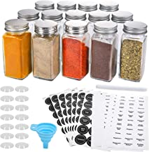 Aozita 14 Pcs Glass Spice Jars with Spice Labels - 4oz Empty Square Spice Bottles - Shaker Lids and Airtight Metal Caps - ...