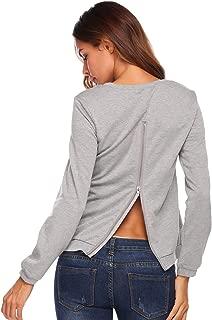 Women's Round Neck Back Zipper Long Sleeve Open Back Sweatshirt