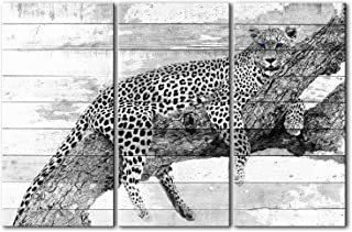Artsbay Leopard Wall Art Decor Leopard Lie on Tree in Wooden Backdrop Black and White Animal Pictures Painting Canvas Prin...