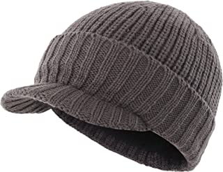 Home Prefer Men's Outdoor Newsboy Hat Winter Warm Thick Knit Beanie Cap with Visor