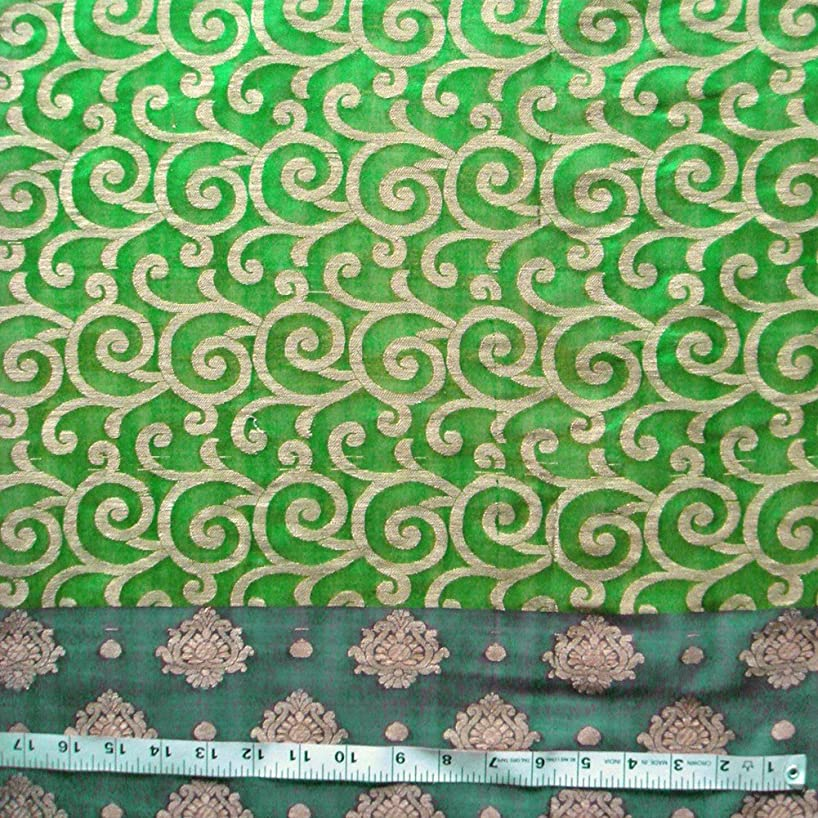 Shades of Green Ombre Chanderi Brocade by The Yard, 44 inches   Floral Prints   Premium Fabric for Crafts and Sewing