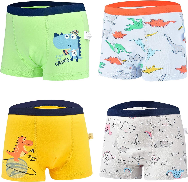 Secdtie Boys Boxer Briefs Shorts Cotton Baby Toddler Underwear for Kids Boy 4 Pack