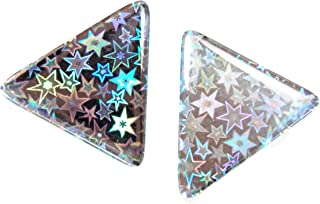 Domed Triangle Chrome Reflective Decals Glitter Night Star Silver Sky Gloss 3D Gel Rear Resin Motorcycle Sticker Badge Reflector Bike Bicycle Car Helmet Trunk Tailgate Self Adhesive Tri Angle