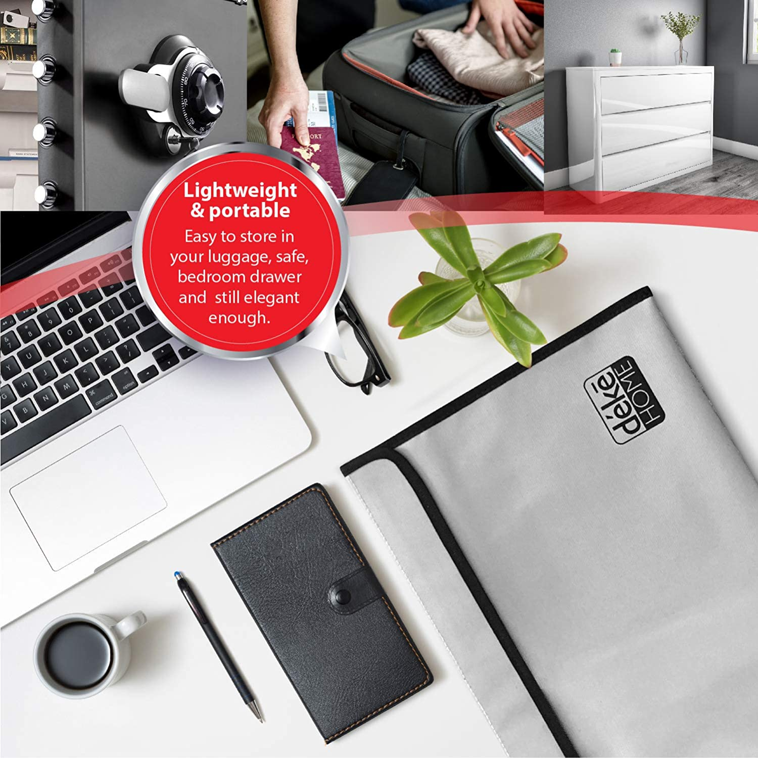 Silicone Coated for Safe Box Zipper. Protect Documents//Money//Jewelry//Passport Holder Fire Proof Waterproof Safe Bag Money Storage Pouch Envelope 2 Pack Fireproof Document Bags 15x11 /& 9x7