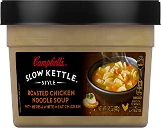 Campbell's Slow Kettle Style Roasted Chicken Noodle Soup with Herbs & White Meat Chicken, 15.5 Oz,Pack of 8