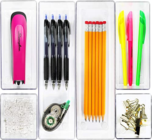 6 Pack - Simple Houseware Clear Plastic Desk Drawer Organizers