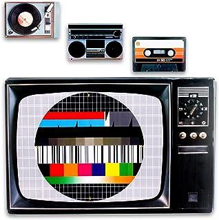 comprar comparacion Set de 4 manteles individuales de plástico con diseño retro de los 80s, cassette, disco, equipo de música