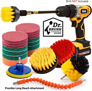 Holikme 21Piece Drill Brush Attachments Set, Scrub Pads Sponge, Power Scrubber Brush with Rotate Extend Long Attachment All purpose Clean for Grout, Tiles, Sinks, Bathtub, Bathroom, Kitchen Automobile
