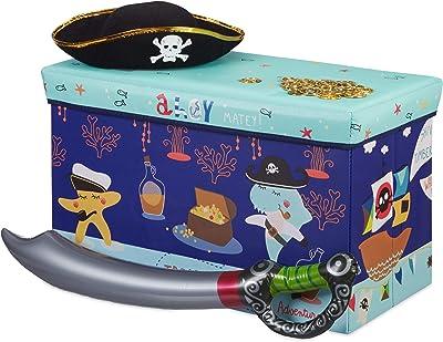 Relaxdays Tabouret Coffre boîte à Jouets Couvercle Pouf Enfant Pliable Rangement trésor 50L, Bleu foncé, 36 x 60,5 x 30,5 cm