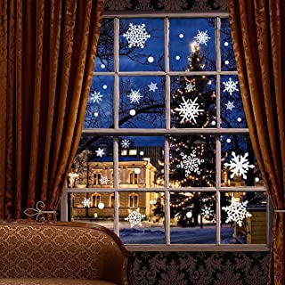 Moon Boat 207 PCS Christmas Snowflake Window Clings Decal Wall Stickers - Xmas/Holiday/Winter Wonderland White Decorations Ornaments Party Supplies(6 Sheets)