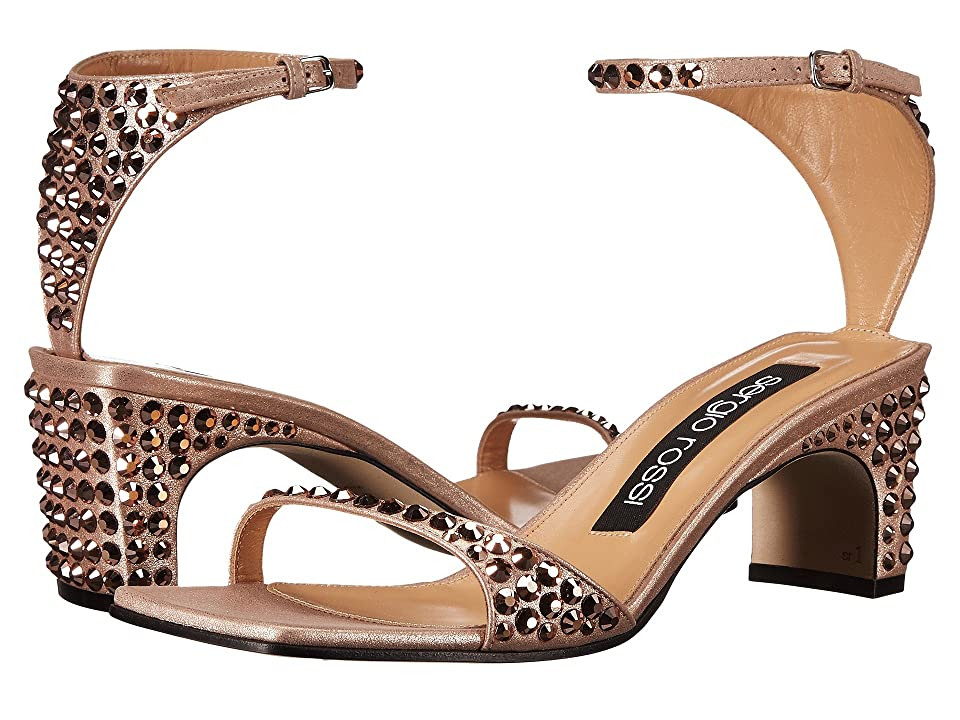 Sergio Rossi A78010-MFN165 (Rose Gold Suede/Jewels) High Heels