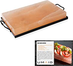 UMAID Natural Himalayan Rock Salt Block Cooking Plate 12 X 8 X 1.5 for Cooking, Grilling, Cutting and Serving, Kosher and FDA Certified Food Grade Salt with Metal Steel Tray Set with Recipe Book