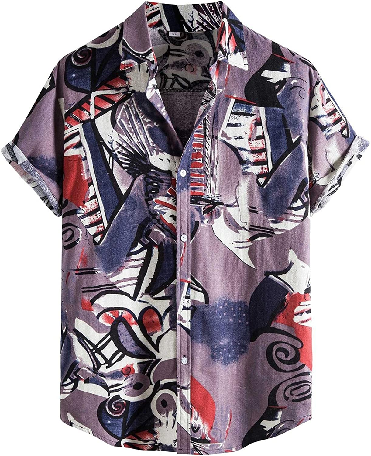 Men's Purple Casual Floral Printed Shirt Single Breasted Short Sleeve Button Turn-Down Collar Shirt Top Blouse